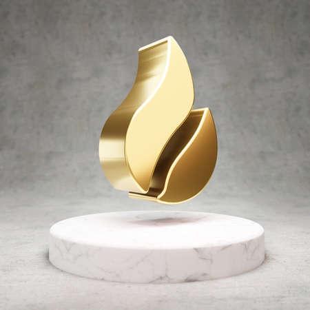 Huobi cryptocurrency icon. Gold 3d rendered Huobi symbol on white marble podium.