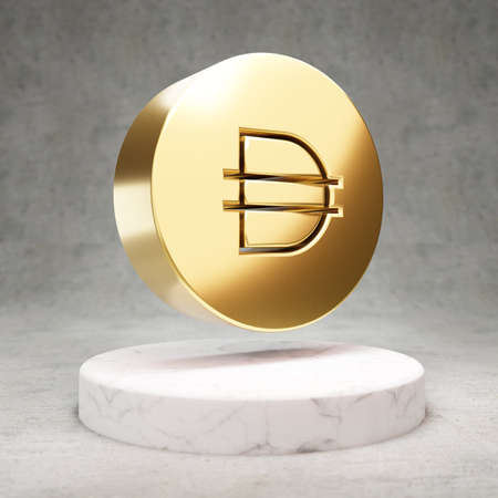 Dai cryptocurrency icon. Gold 3d rendered Dai symbol on white marble podium.