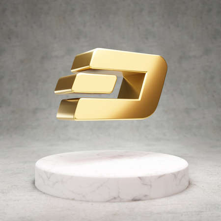 Dash cryptocurrency icon. Gold 3d rendered Dash symbol on white marble podium.