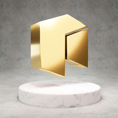 Neo cryptocurrency icon. Gold 3d rendered Neo symbol on white marble podium.