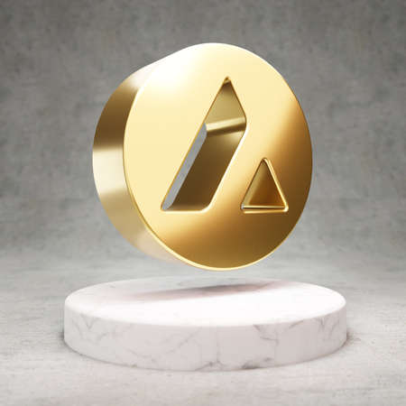 Avalanche cryptocurrency icon. Gold 3d rendered Avalanche symbol on white marble podium.