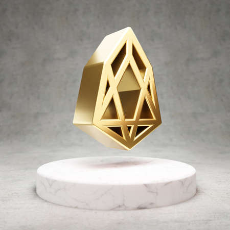 EOS cryptocurrency icon. Gold 3d rendered EOS symbol on white marble podium.