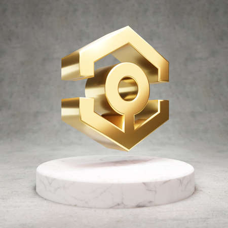 Ankr cryptocurrency icon. Gold 3d rendered Ankr symbol on white marble podium.