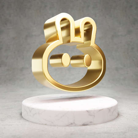 PancakeSwap cryptocurrency icon. Gold 3d rendered PancakeSwap symbol on white marble podium.
