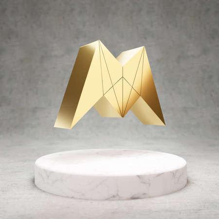 Morpheus cryptocurrency icon. Gold 3d rendered Morpheus symbol on white marble podium. Standard-Bild
