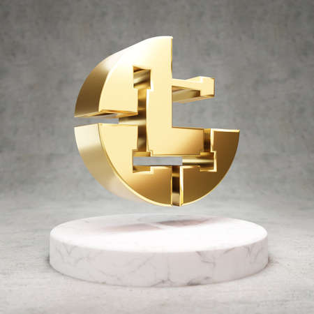 Parsiq cryptocurrency icon. Gold 3d rendered Parsiq symbol on white marble podium.