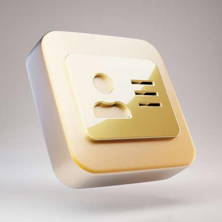 Address Card icon. Golden Address Card symbol on matte gold plate. 3D rendered Social Media Icon.