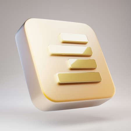 Text Align Right icon. Golden Text Align Right symbol on matte gold plate. 3D rendered Social Media Icon.