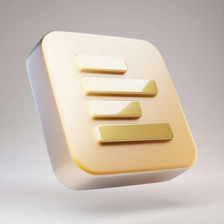 Text Align Left icon. Golden Text Align Left symbol on matte gold plate. 3D rendered Social Media Icon. Standard-Bild