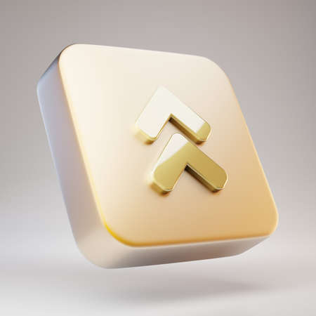 Angle Double Up icon. Golden Angle Double Up symbol on matte gold plate. 3D rendered Social Media Icon. Standard-Bild