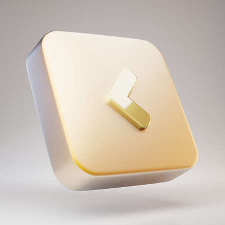 Angle Left icon. Golden Angle Left symbol on matte gold plate. 3D rendered Social Media Icon.