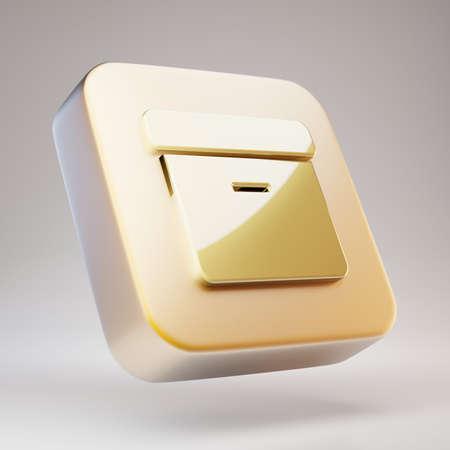 Archive icon. Golden Archive symbol on matte gold plate. 3D rendered Social Media Icon. Standard-Bild