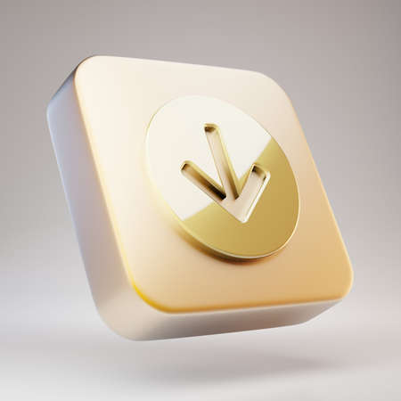 Arrow Circle Down icon. Golden Arrow Circle Down symbol on matte gold plate. 3D rendered Social Media Icon.
