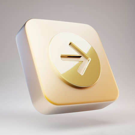 Arrow Circle Right icon. Golden Arrow Circle Right symbol on matte gold plate. 3D rendered Social Media Icon.