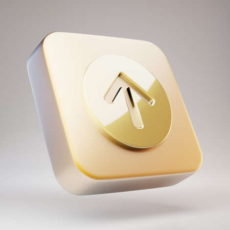 Arrow Circle Up icon. Golden Arrow Circle Up symbol on matte gold plate. 3D rendered Social Media Icon.