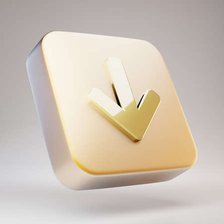 Arrow Down icon. Golden Arrow Down symbol on matte gold plate. 3D rendered Social Media Icon.