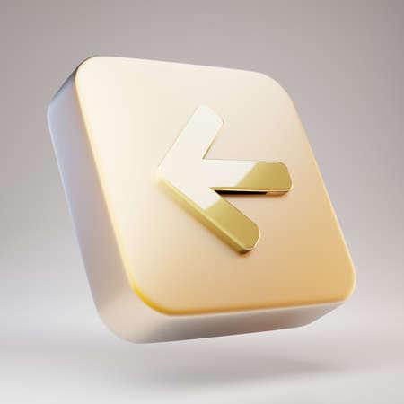 Arrow Left icon. Golden Arrow Left symbol on matte gold plate. 3D rendered Social Media Icon. Standard-Bild