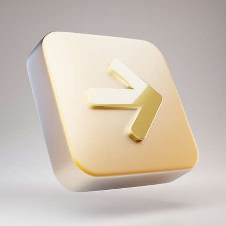 Arrow Right icon. Golden Arrow Right symbol on matte gold plate. 3D rendered Social Media Icon.