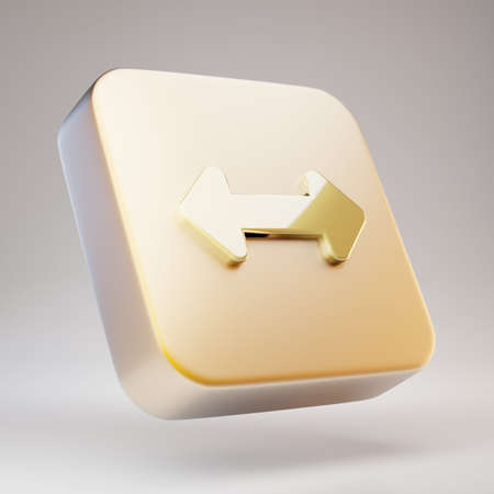 Horizontal Arrows icon. Golden Horizontal Arrows symbol on matte gold plate. 3D rendered Social Media Icon.