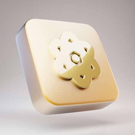 Atom icon. Golden Atom symbol on matte gold plate. 3D rendered Social Media Icon.