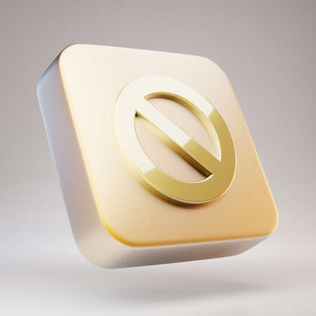 Ban icon. Golden Ban symbol on matte gold plate. 3D rendered Social Media Icon.