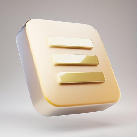 Burger Menu icon. Golden Burger Menu symbol on matte gold plate. 3D rendered Social Media Icon.