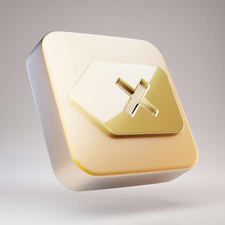 Backspace icon. Golden Backspace symbol on matte gold plate. 3D rendered Social Media Icon.