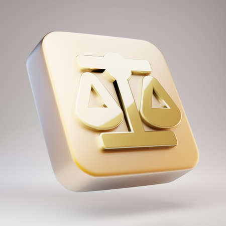 Balance Scale icon. Golden Balance Scale symbol on matte gold plate. 3D rendered Social Media Icon.