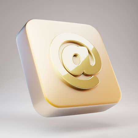 AT icon. Golden AT symbol on matte gold plate. 3D rendered Social Media Icon.