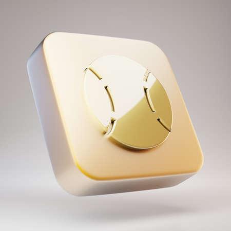 Baseball Ball icon. Golden Baseball Ball symbol on matte gold plate. 3D rendered Social Media Icon.