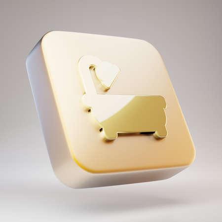 Bath icon. Golden Bath symbol on matte gold plate. 3D rendered Social Media Icon.