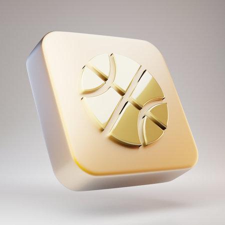 Basketball Ball icon. Golden Basketball Ball symbol on matte gold plate. 3D rendered Social Media Icon.
