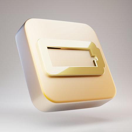 Empty Battery icon. Golden Empty Battery symbol on matte gold plate. 3D rendered Social Media Icon. Standard-Bild