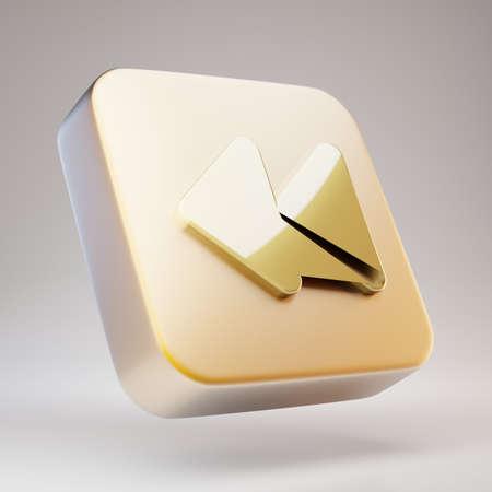 Backward icon. Golden Backward symbol on matte gold plate. 3D rendered Social Media Icon. Standard-Bild