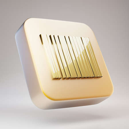 Barcode icon. Golden Barcode symbol on matte gold plate. 3D rendered Social Media Icon.