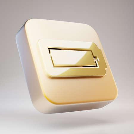 Full Battery icon. Golden Full Battery symbol on matte gold plate. 3D rendered Social Media Icon.