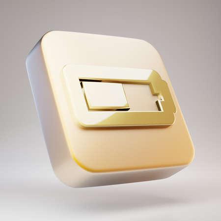 Half Battery icon. Golden Half Battery symbol on matte gold plate. 3D rendered Social Media Icon.