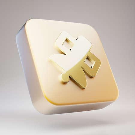 Satelite icon. Golden Satelite symbol on matte gold plate. 3D rendered Social Media Icon.