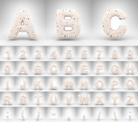 Terrazzo pattern alphabet on white background. 3D letters numbers and font symbols with terrazzo texture.