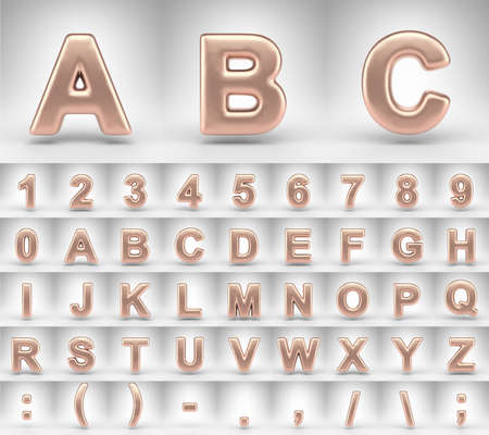 Matte copper alphabet on white background. 3D letters numbers and font symbols with shiny metallic texture.