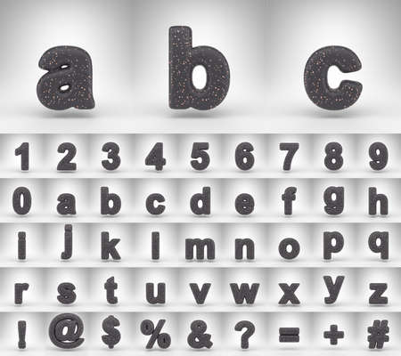 Black matte alphabet on white background. 3D letters numbers and font symbols with copper dots.