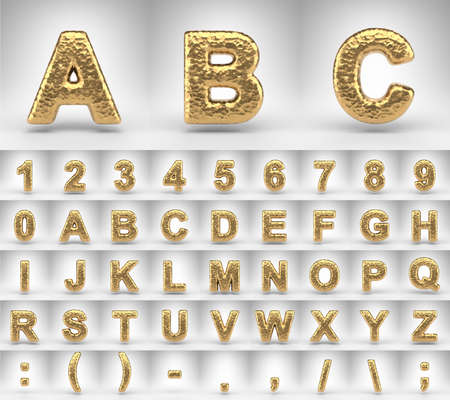 Hammered brass alphabet on white background. 3D letters numbers and font symbols with shiny metallic texture. Standard-Bild