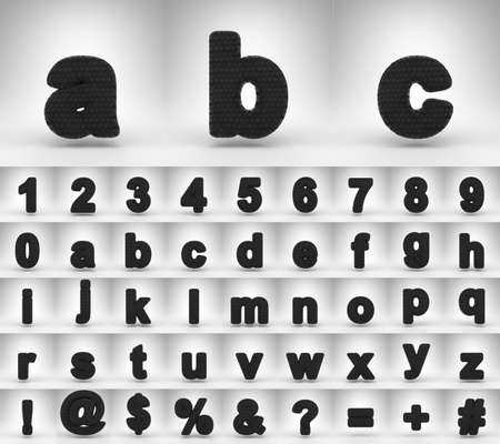 Black carbon fiber alphabet on white background. 3D letters numbers and font symbols with carbon thread texture.