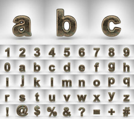 Bronze alphabet on white background. 3D letters numbers and font symbols with oxidized scratched texture.