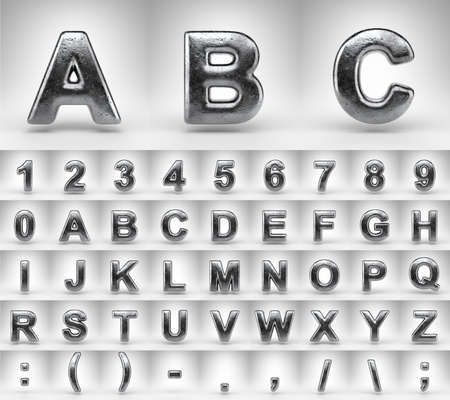 Iron alphabet on white background. 3D letters numbers and font symbols with gloss metal texture.