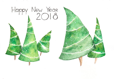 Five Green Christmas Trees Are Dansing on the White Background and Black Ink Handmade Text Happy New 2018 Year