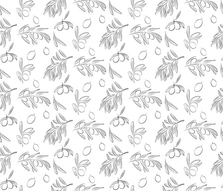 Seamless Pattern of Handpainting Black Olives and Olives Branches