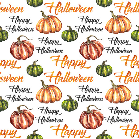 Seamless pattern with watercolor element for Happy Halloween Stock fotó