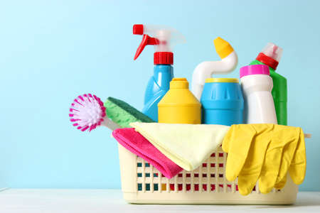 Means for cleaning and disinfection close-up on a colored background.