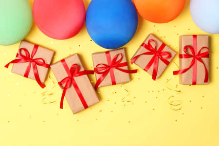 festive birthday background on colored background with place for text